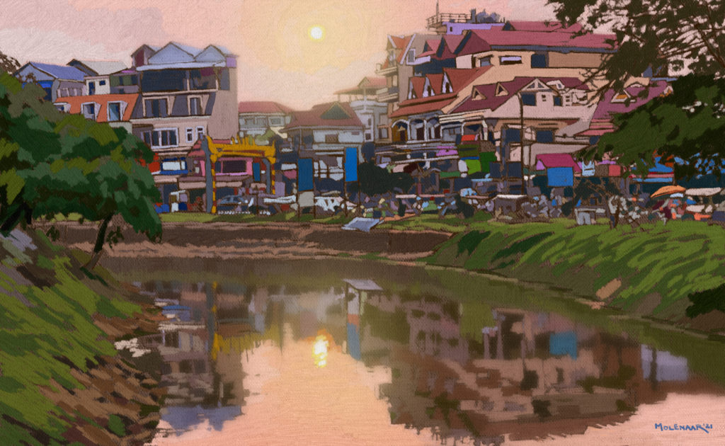 Home page image of a digital painting of Siem Reap riverfront